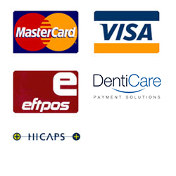 payment options - MASTERCARD, VISA, EFTPOS, DENTICARE, HICAPS